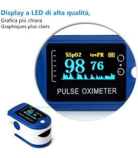 Oxímetro dedo, Pulsioximetro de dedo portátil para mediciones de pulso (PR) y saturación de oxígeno (SpO2)
